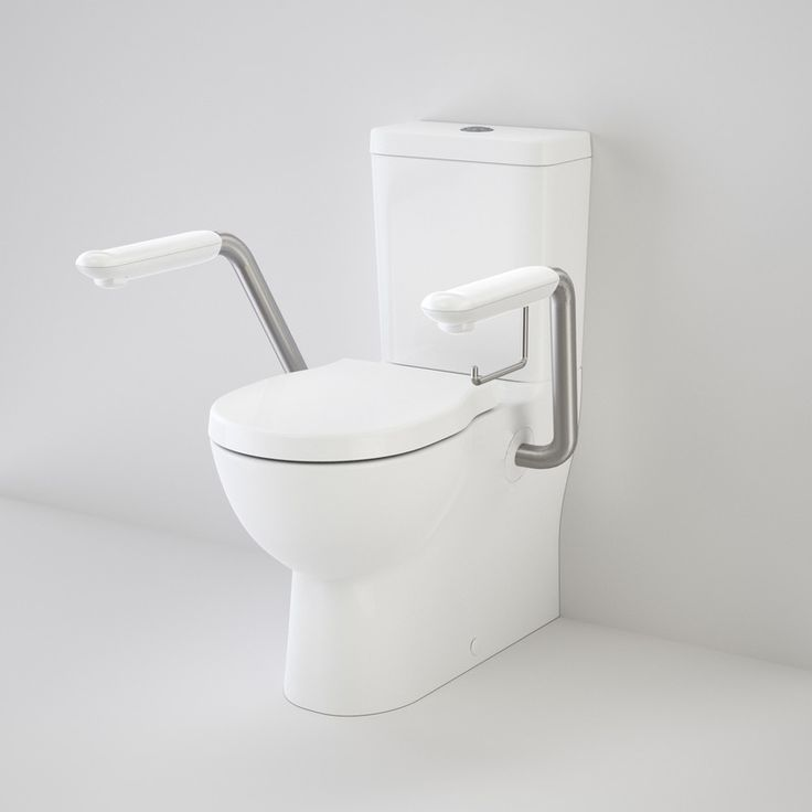 Toilet suite for Seniors or the disabled.The new generation Opal II range brings polish and streamlined style to Australian bathrooms. With the inclusion of a raised height pan, the Opal II Easy Height allows for easy transfer on and off the seat, ideal for the elderly or people with restricted movement. Includes stainless steel armrests.  #seniorsliving