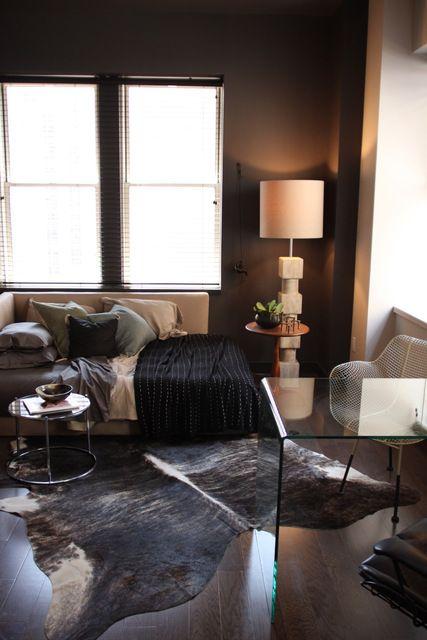 Dark & cozy, modern living room