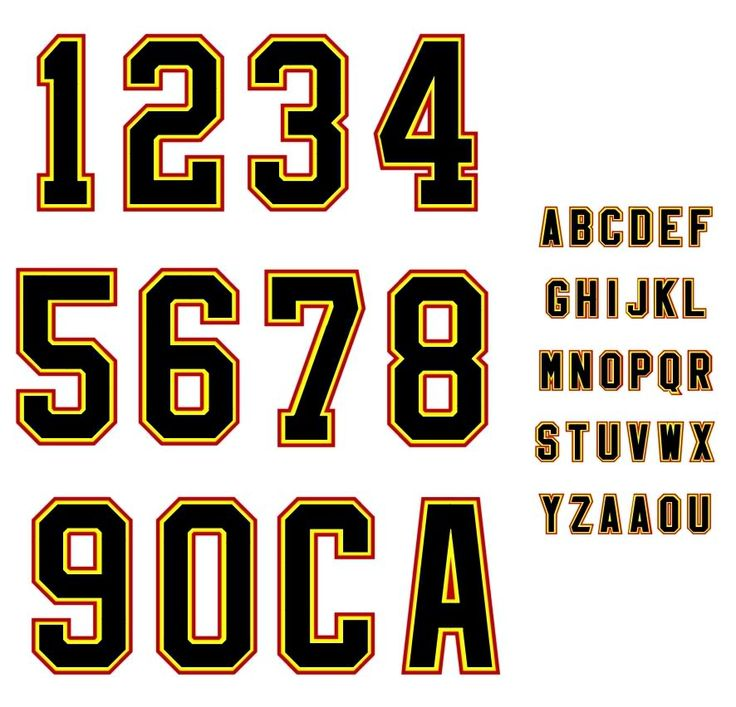 Sports number & letter template