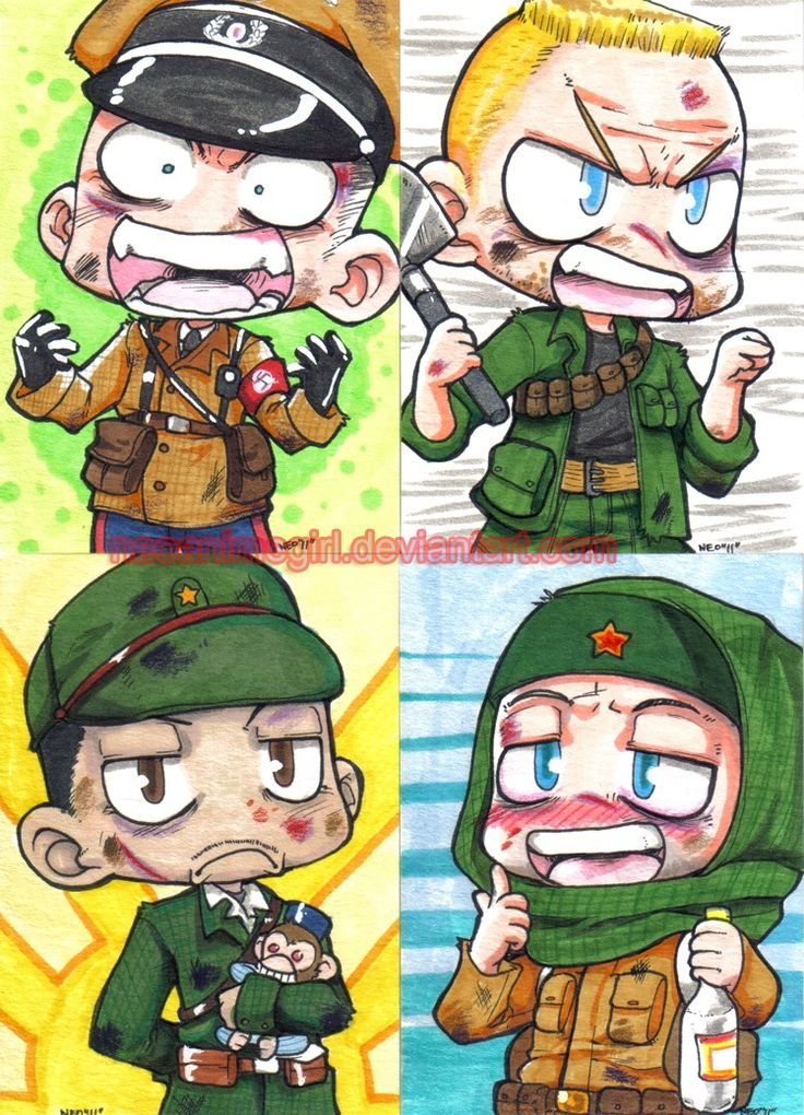 Anime Zombie Characters : Richtofen dempsey takeo and nikolai in chibi form dr