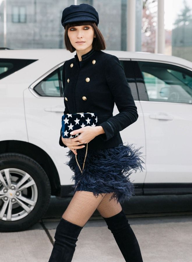 band jacket with fur skirt and sailor cap