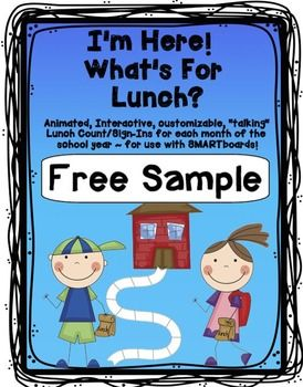 FREE SAMPLE of attendance/lunch count for  the SMARTboard.