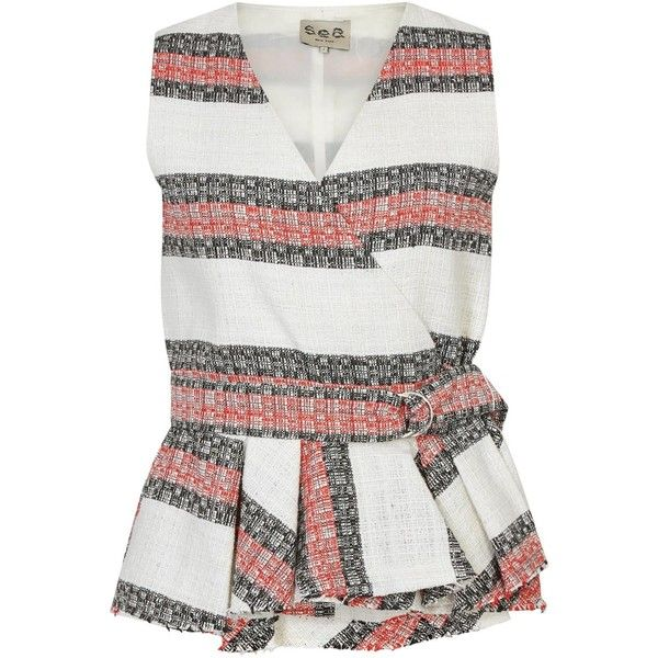 Womens Sleeveless Tops Sea NY Striped Tweed Wrap Top (£310) ❤ liked on Polyvore featuring tops, striped top, striped peplum top, stripe top, pleated top and sleeveless tops