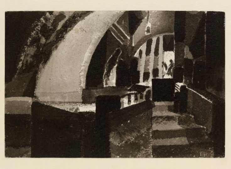 gaganendranath Tagore, Interior with Figures, c. 1924