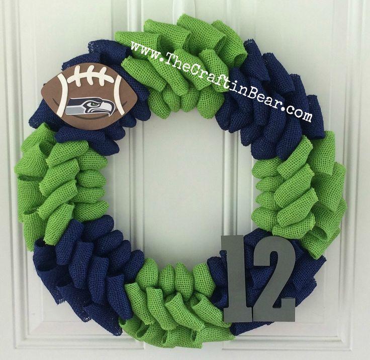 Seattle Seahawks burlap wreath - Seattle Seahawks wreath - Seahawks - Seattle Seahawks - 12th man by TheCraftinBear on Etsy https://www.etsy.com/listing/203920824/seattle-seahawks-burlap-wreath-seattle