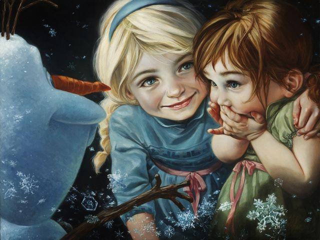 These realistic paintings of Disney Princesses are gorgeous!  This is Anna and Elsa as children!