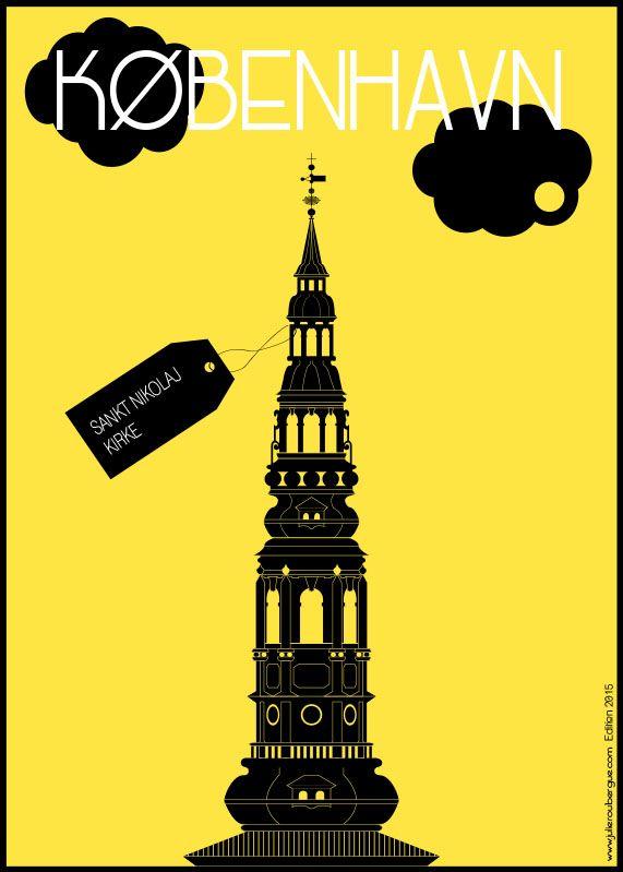 Sankt Nikolaj Kirke Yellow - Poster 50x70cm or 40x40cm