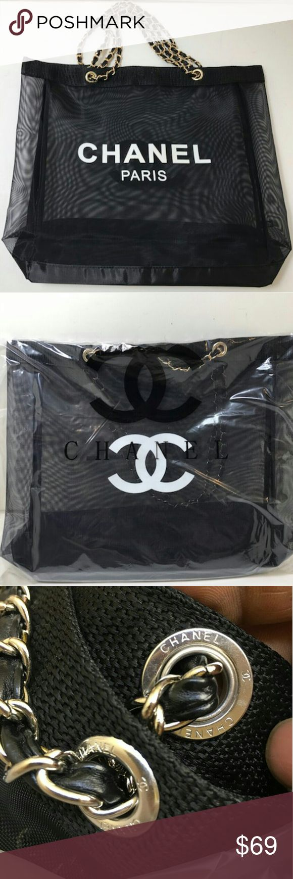 """Brand new Chanel vip gift bag mesh tote bag gold Brand new Chanel vip gift bag mesh tote bag gold chains . size 15"""" x 15"""" . chain drop 11"""". Look at the gold ring inside the bag with Chanel on it. 100% authentic! CHANEL Bags Totes"""