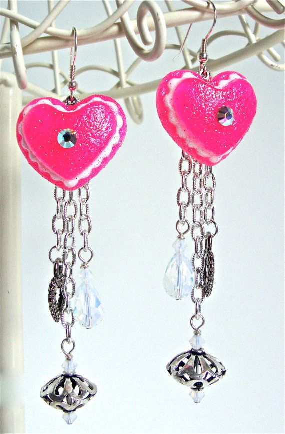 Long earrings   kawaii heart earrings  by sparklecityjewelry