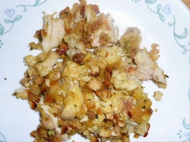 Easy Chicken and Stuffing Casserole from Food.com: a friend told me about a similar recipe and it is every bit as delish as she said it was!!  Fed a crowd, and it was a pleaser!!  Easy to put together and inexpensive.  I use Pepperidge Farm Stuffing Mix, but any kind would work.  Also, you can use canned chicken if you're in a hurry!