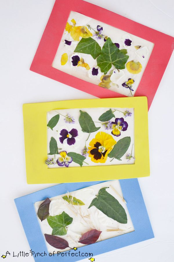 Nature Craft and Reusable Frame For Kids (The peel and stick backing is such a great idea.)