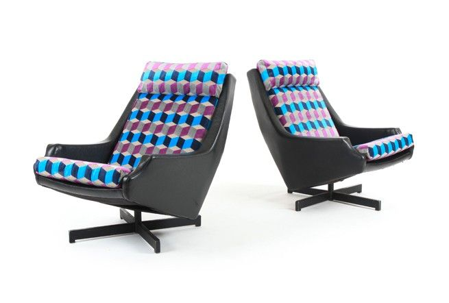 Pair of Fler 'Fleronde' Swivel Chairs - Mr. Bigglesworthy Designer Vintage Furniture Gallery