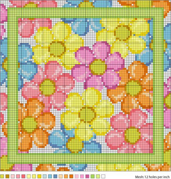 August Daisies Needlepoint Pattern kann auch kleiner gearbeitet werden, z.B. für eine Glückwunschkarte