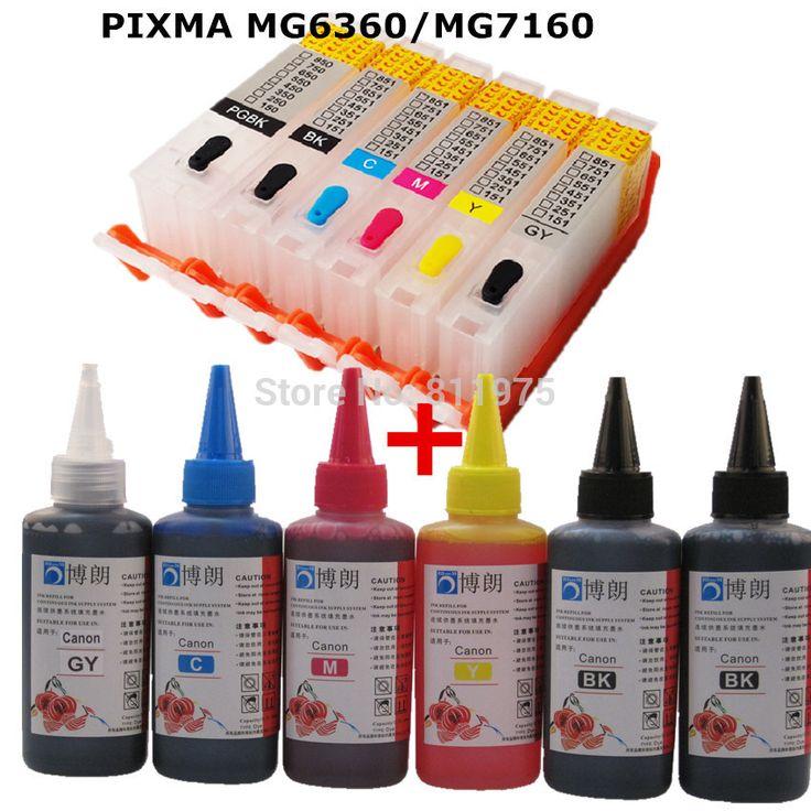 Купить товар6 чернила для CANON PIXMA PIXMA MG6360 MG7160 принтер PGI 650 CLI 651 многоразового картридж + 6 цвет чернил на основе красителя 100 мл в категории Картриджи с черниламина AliExpress.                            Пустой многоразового картриджа с Автоматический Сброс фишек!