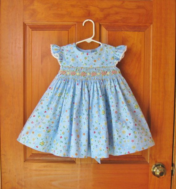 Blue baby girl smocked dress, size 18 Mo, whimsical daisies & tulips, ladybugs, ready to ship, toddler, angel sleeves, party dress, Easter