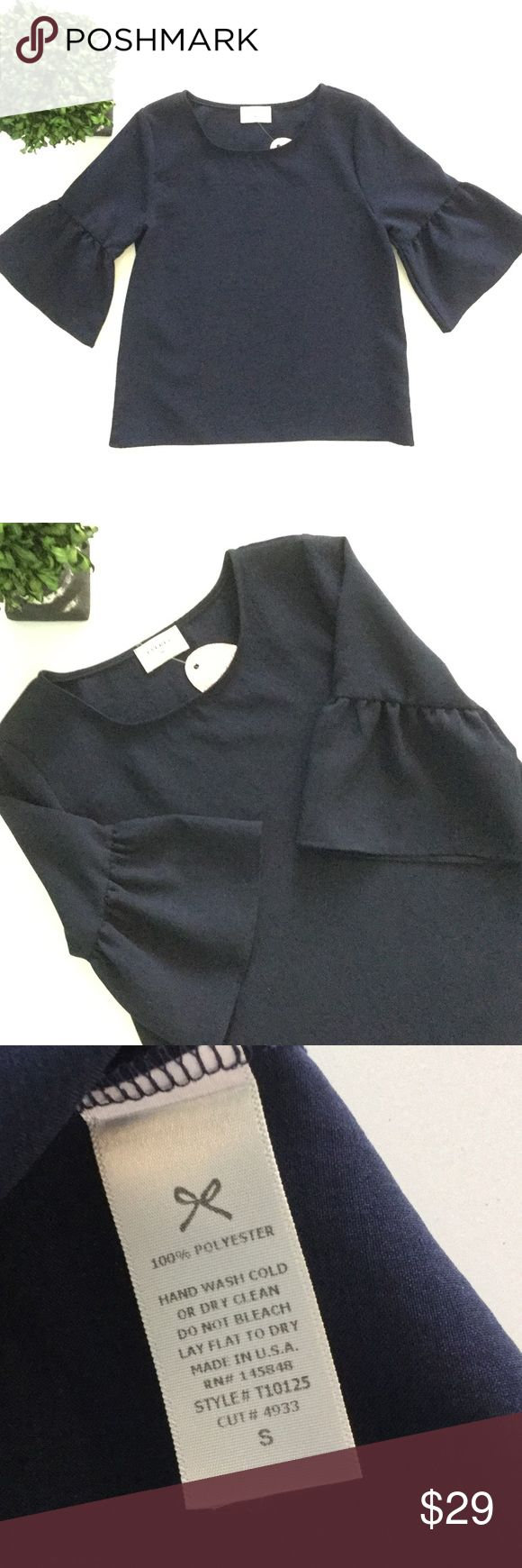 """✨NWT✨ EVERLY Navy Bell Sleeve Top ✨NWT✨ EVERLY navy top with bell sleeves. Chest: 17 1/2"""". Length: 22"""". Super cute top. Everly Tops Blouses"""