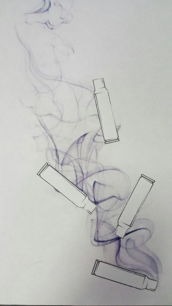 Bullet casing tattoo with smoke. if you get this as a tattoo please show the work.