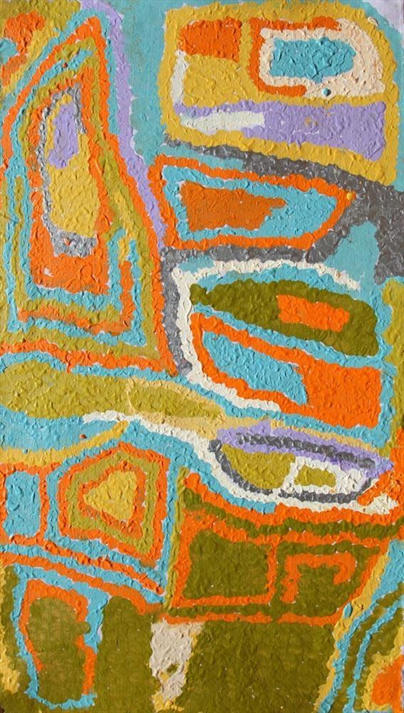 Mabel Wakarta - Yirajarra home country - 107 x 61 cm - 13-544 http://www.aboriginalsignature.com/martumiliartpeintureaborigene/mabel-wakarta-yirajarra-home-country-107-x-61-cm-13-544