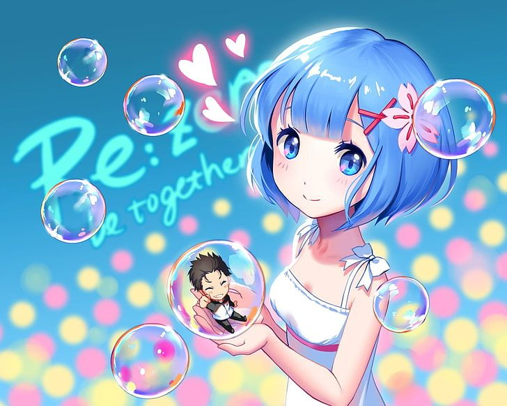 girl''s with blue hair holding ball illustratiob, Re:Zero Kara Hajimeru …