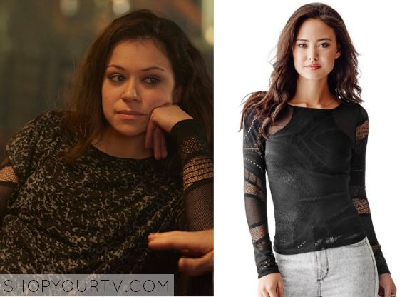 Sarah Manning (Tatiana Maslany) wears this black mesh cut out top in this week's episode of Orphan Black. It is the GUESS Women's Long-Sleeve Patterned-Mesh Top.