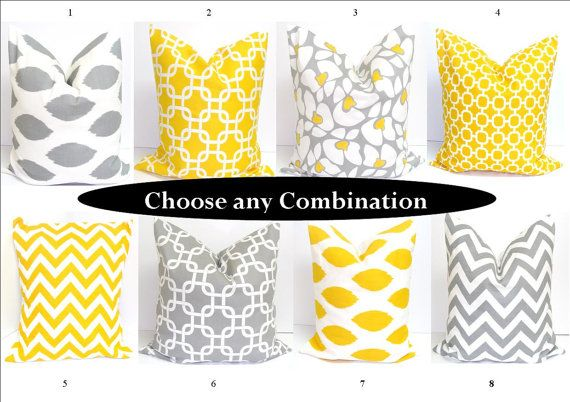 EXACTLY what I've been looking for for our new bedroom color scheme!!!!! SALE.Pillow Sets.Gray.Yellow SETS Pillows.Sets.16x16 inch Decorator Pillow Cushions.Printed Fabric Front and Back.Housewares.Home Decor. $26.00, via Etsy.