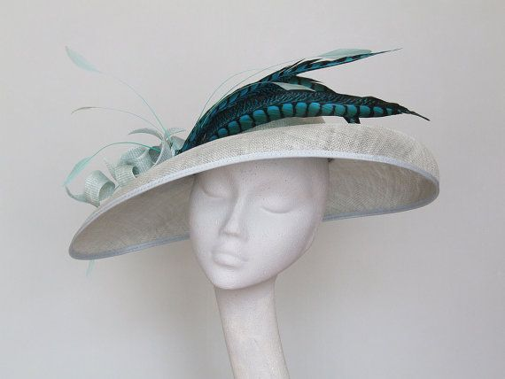 Wide Brim Pale Blue Fascinator Ascot Hat by CoggMillinery on Etsy