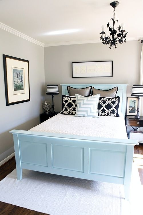 Hoping to paint our guest bed like this when we move next. Also like this color palette, it's neutral enough for an guest