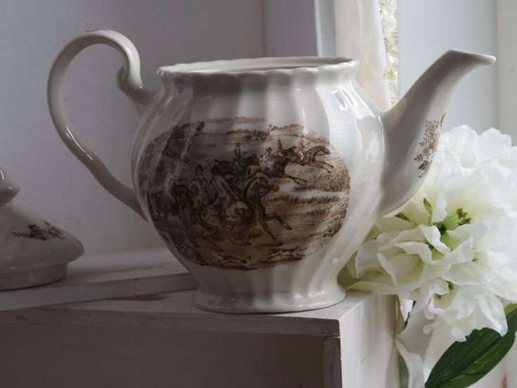 Teapot Brown Transferware hunting scene, Ironstone, fluted design, No backstamp, no crazing, chips or cracks, wedding gift, by…