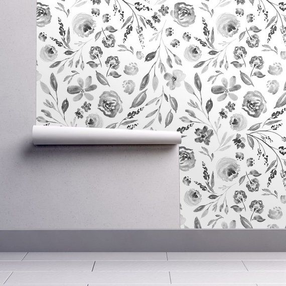 Gray Floral Wallpaper Farm House Floral C By Etsy Grey Floral Wallpaper Neutral Wallpaper Floral Wallpaper