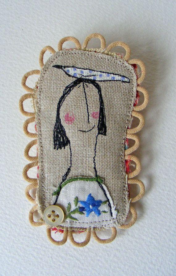 Textile fiber machine embroidered BROOCH - ooak - Girl and Bird design