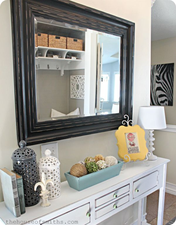 Decorating on a Budget Blog..will be glad I pinned this: Sofa Table, Entry Way, Entry Table, Big Mirror, Decor Ideas, Console Table, Entryway Table, Decorating Ideas, Budget Blog