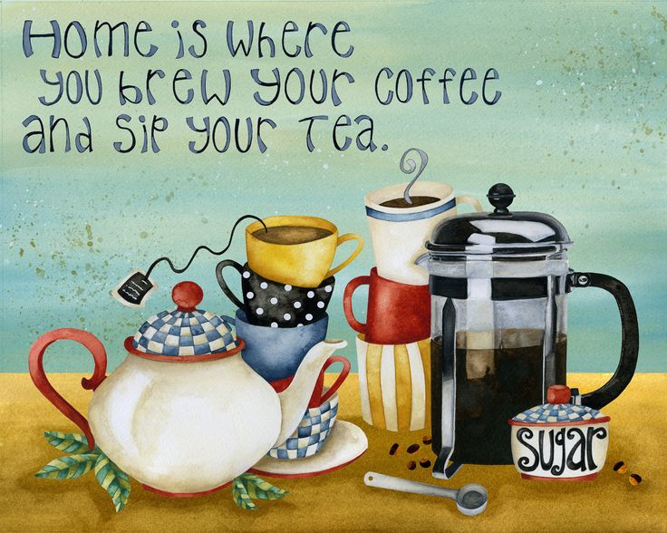coffee for my husband and tea for me! Artwork By Jennifer Lambein