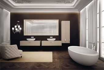 Luxury and simplicity, elemental shapes and opulent materials,chromatic contrasts,and the light nuances of the finest carpets and seats #IBordi #Teuco #bathroom