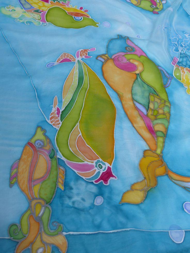 Baśniowe ryby malowane na jedwabiu ...