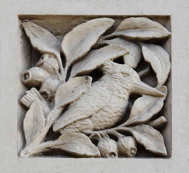 One of the many motifs (Kookaburra) on panels of Australiana subjects, former South Yarra Post Office, 162 Toorak Road, South Yarra. Designed: AJ MacDonald, Public Works Department. Erected:1892-3. Victorian Period (1851-1901) . American Romanesque Style.