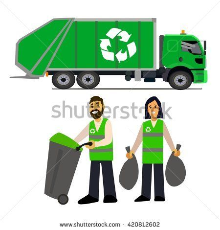 garbage collection. Garbage truck  and garbage men isolated on white background.