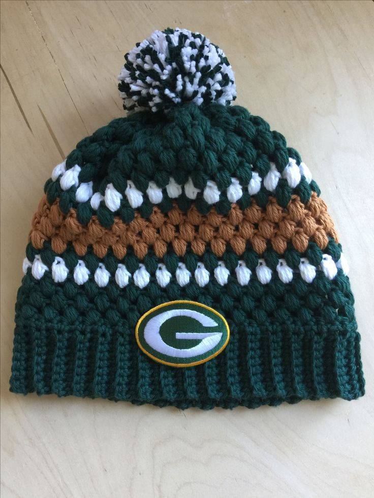 Crochet Green Bay Packers hat. FB page: A Girly Momma of Boys