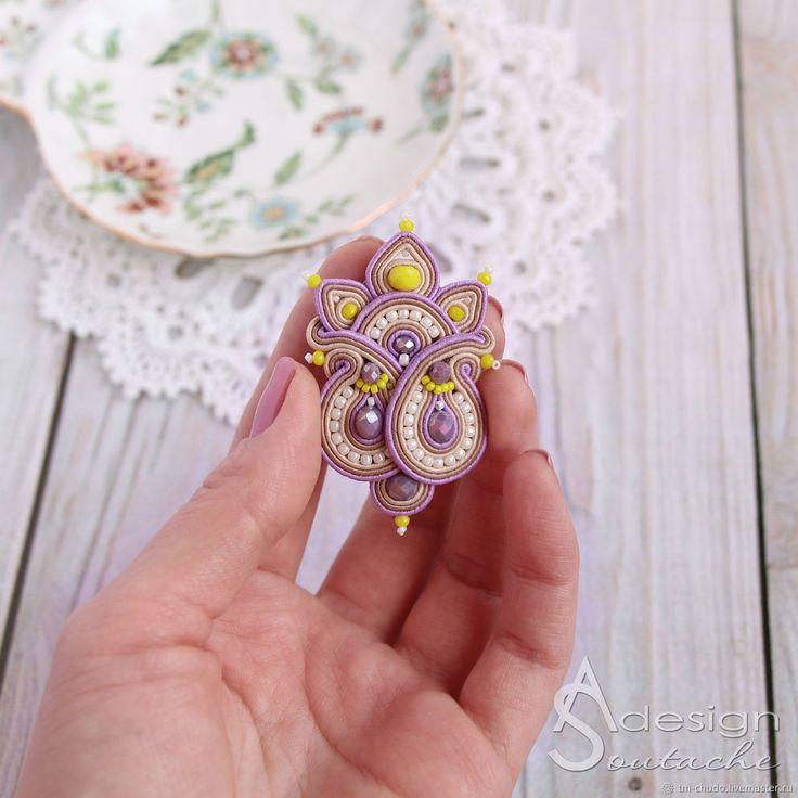 Вышитая брошь из бисера, сутажная брошь, брошь цветок, яркая брошь, брошь на платье, брошь в подарок, подарок на 8 марта