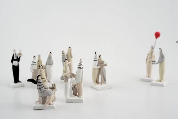 """Ceramic – Sculptures Set """"sound,camera,action"""" Mini Figures  – a unique product by AnaBossa on DaWanda"""