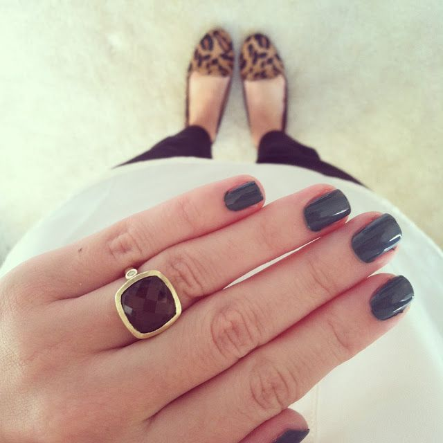 muted green nails + stone ring