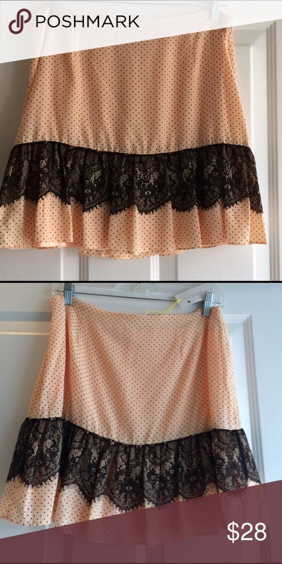 Firm! ✨1 Day SALE✨ NWT BCBGeneration Skirt Peplum Brand new with tags. Light peach color with black pattern and Lace detailing. Lined. BCBGeneration Skirts