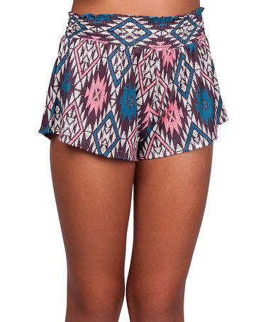 Look what I found on #zulily! Fire Sign Coral Geometric Venice Shorts - Girls by Love & Sunflowers #zulilyfinds