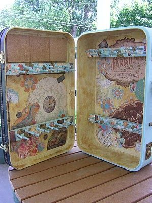 And fromhoneygirlstudio.blogspot.com another suitcase version with dowels for thread or to hang things