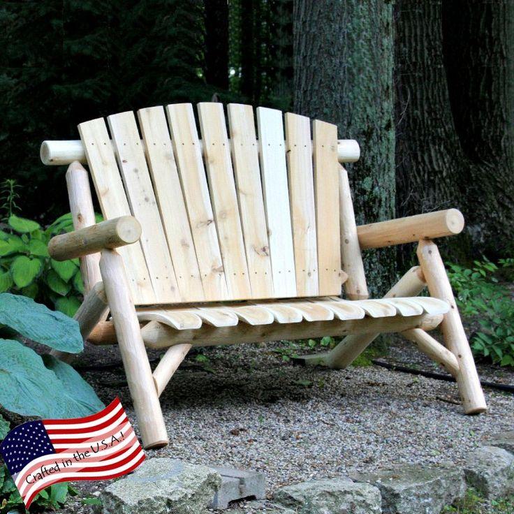 Outdoor Lakeland Mills 4 ft. White Cedar Log Loveseat Bench - CF1148