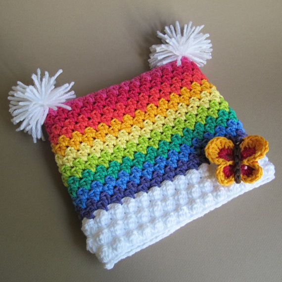 Crochet pattern over the rainbow a colorful square hat for Pom pom craft patterns