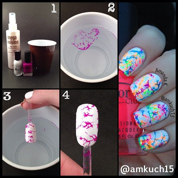 Hairspray watermarble. Have to try this!
