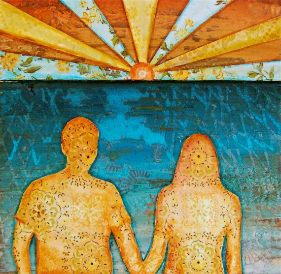 BEACH ART PRINT couple love ocean lake sunset by dannyphillipsart