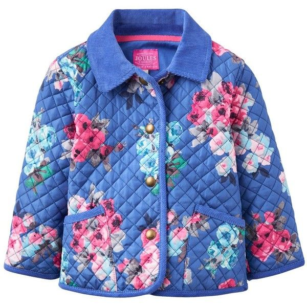 Joules Baby Girls Quilted Floral Mabel Jacket (1.635 RUB) ❤ liked on Polyvore featuring outerwear, jackets, quilted jacket, elbow patch jacket, floral quilted jacket, joules jackets and blue floral jacket