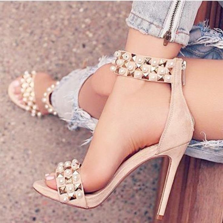Diamond Rivets Suede Ankle Wrap Stiletto Heel Peep-toe High Heel Sandals