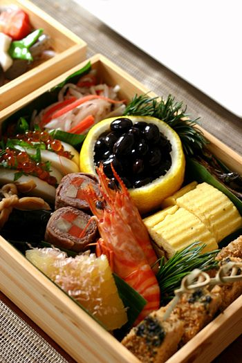 Japanese lunch box for New Year's Day.
